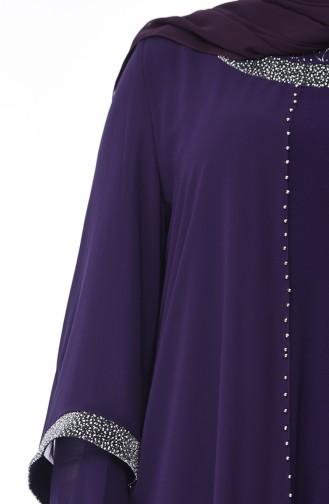 Robe de Soirée Perlées Grande Taille 3144-03 Pourpre 3144-03