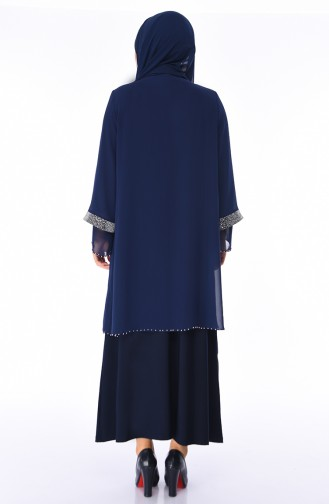 Navy Blue Islamic Clothing Evening Dress 3144-04