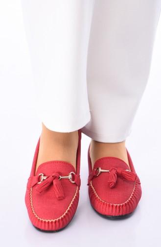 Red Woman Flat Shoe 120-11