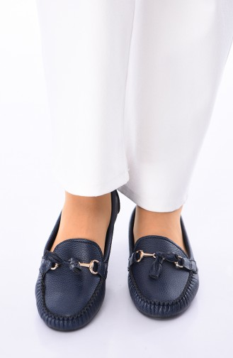 Navy Blue Woman Flat Shoe 120-13