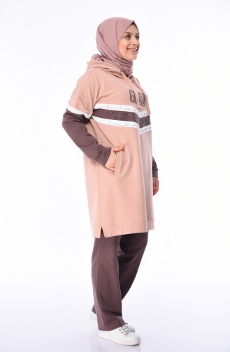 Büyük Beden Eşofman Takım 10005-04 Pudra