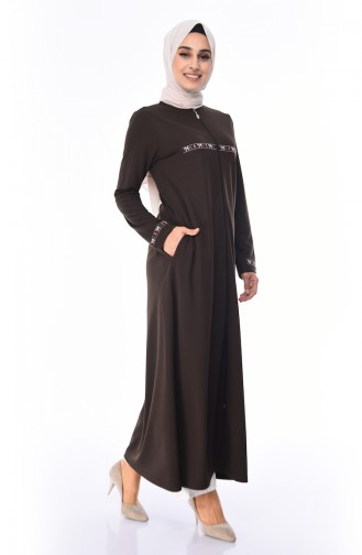 Abaya a Fermeture 99216-03 Vert Khaki 99216-03