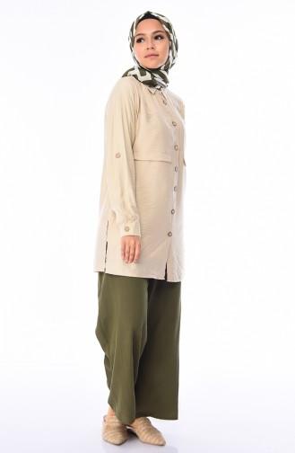 Pantalon Large élastique 0689-04 Haki 0689-04