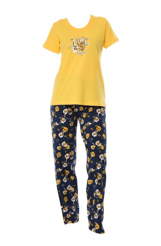 Bayan Sıfır Yaka Kısa Kollu Pijama Takımı 810180-02 Sarı