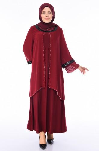 Büyük Beden Payetli Abiye Elbise 3145-02 Bordo