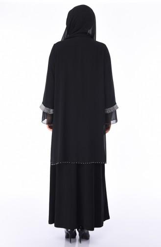 Robe de Soirée Perlées Grande Taille 3144-01 Noir 3144-01
