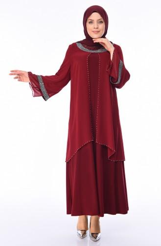 Büyük Beden İncili Abiye Elbise 3144-02 Bordo
