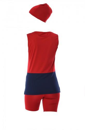 Maillot de Bain Hijab Rouge 356-03