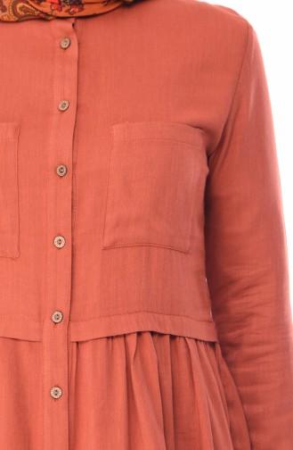 Düğmeli Pamuklu Tunik 1952-08 Kiremit