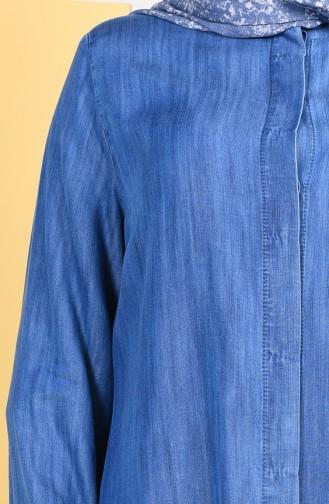 Grosse Grösse Sensibles Abaya mit verstecktem Knopf  0201-02 Jeansblau 0201-02