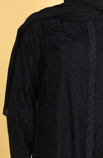 Grosse Grösse Perlen Abiye mit Spitzenbesatz 0294-01 Schwarz 0294-01