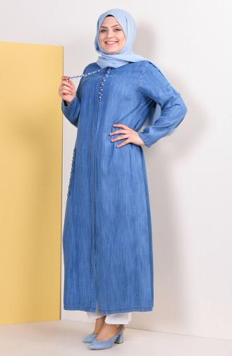 Büyük Beden Taşlı Tensel Ferace 0362-02 Kot Mavi