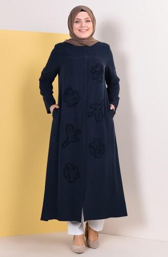 Abaya a Motifs Grande Taille 0380-05 Bleu Marine 0380-05