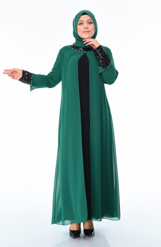 Habillé Hijab Vert emeraude 6056-01