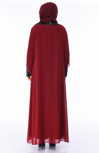 Grosse Grösse Pailletten Abendkleid 6056-05 Weinrot 6056-05