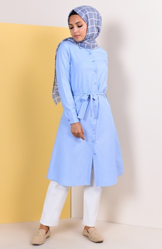 Minahill Buttoned Belted Tunic 8206-01 Blue 8206-01