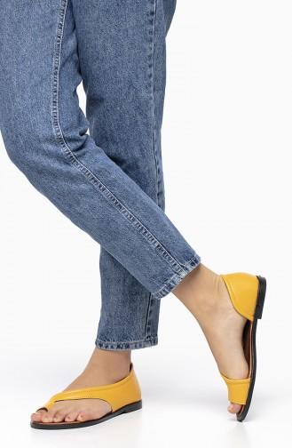 Bayan Deri Sandalet 2195-05 Sarı