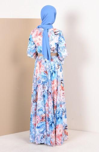 Gemusterter Chiffon Kleid 1012-03 Weiss Blau 1012-03