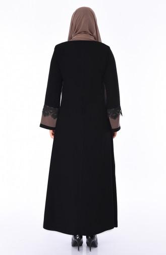 Abaya Détail Dentelle Grande Taille 0011-01 Noir Vison 0011-01