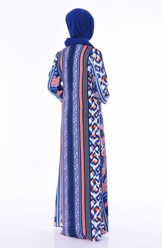 Viskon A Pile Elbise 4522H-01 Saks Lacivert