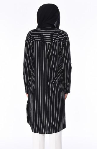 Tunique Coton à Rayures Grande Taille 0011-01 Noir 0011-01