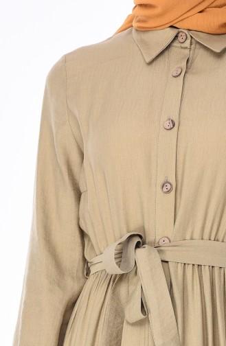Aerobin Kumaş Düğmeli Elbise 1028-06 Açık Yeşil