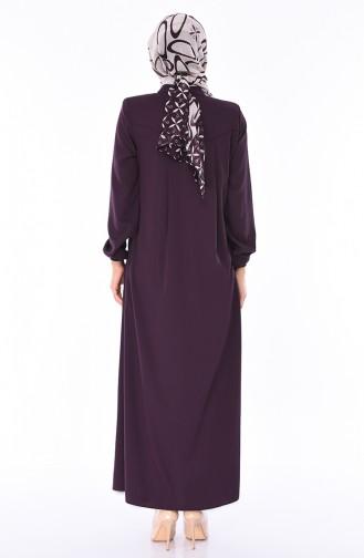 Sommerliches Abaya mit Reissverschluss 8119-01 Lila 8119-01