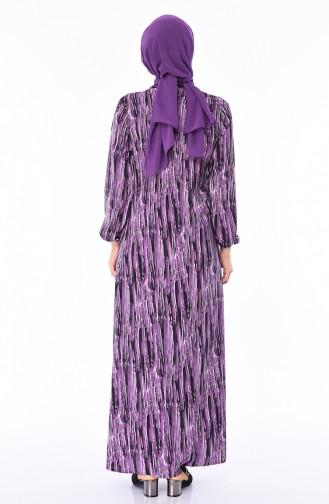 Kolu Lastikli Yazlık Elbise 8371-01 Mor
