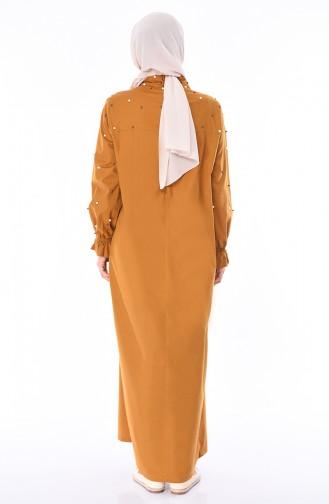 İncili Yazlık Elbise 0012-03 Hardal