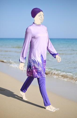 Gemusterter Hijab Badeanzug 1954-01 Lila 1954-01