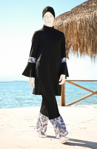 Spanischer Arm Hijab Badeanzug  1958-01 Schwarz 1958-01