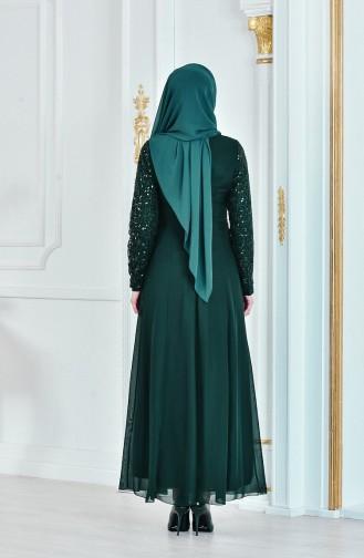 Robe de Soirée a Paillette 52614-02 Vert 52614-02