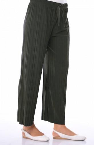 Lastikli Piliseli Pantolon 2164-06 Zümrüt Yeşil