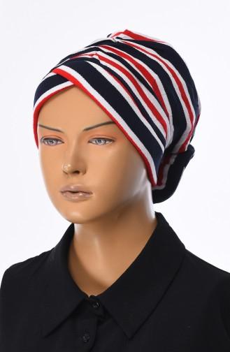 Gestreifter Bonnet  1041-01 Rot Dunkelblau 1041-01