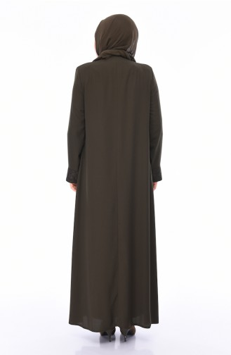 Abaya Détail Dentelle Grande Taille 0075-04 Khaki 0075-04