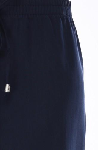 Beli Lastikli Bol Paça Pantolon 2093-01 Lacivert