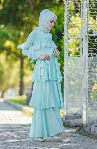 Abendkleid mit Volant 1030-01 Minzengrün 1030-01