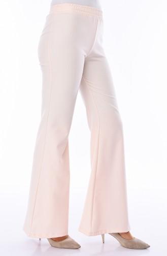 Pantalon Pattes éléphan Taille élastique 2302A-01 Creme 2302A-01