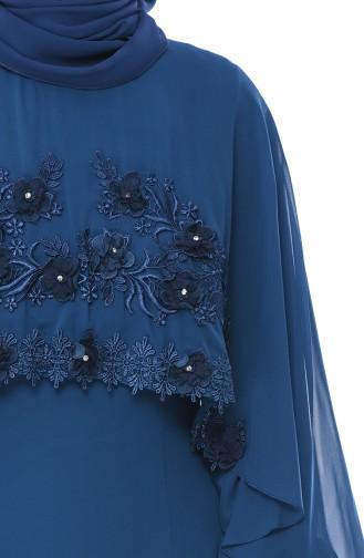 Robe de Soirée Détail Fleurs 52661-04 Pétrol 52661-04