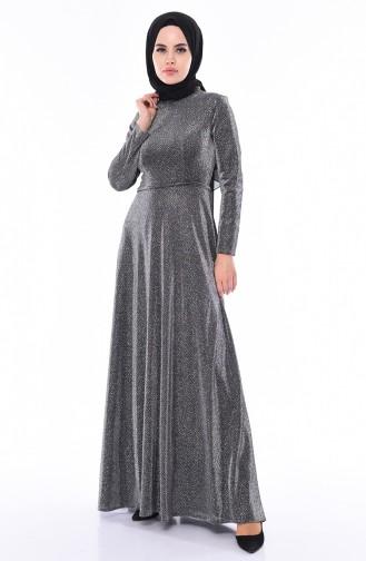 Robe de Soirée a Paillettes 9008-01 Argent 9008-01