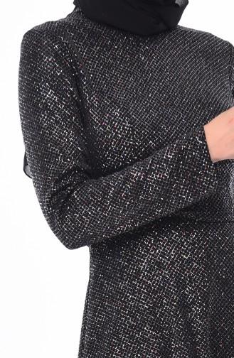 Silbernes  Abendkleid 9008-02 Schwarz 9008-02