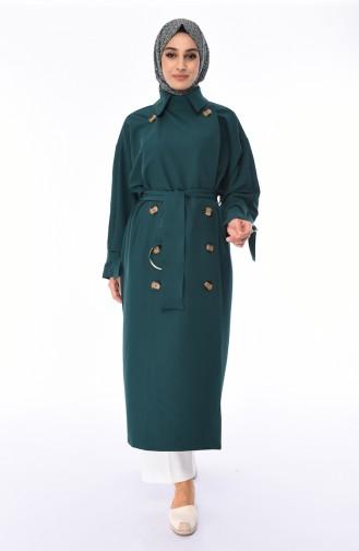 Saisonaler Trenchcoat mit Gürtel 90003-01 Smaragdgrün 90003-01