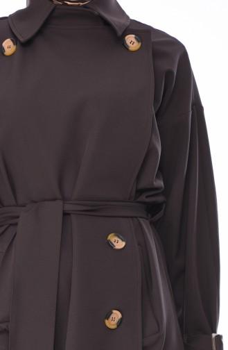 Trench Coat a Ceinture 90003-04 Brun Foncé 90003-04