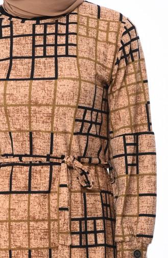 Desenli Kuşaklı Elbise 0321A-01 Vizon