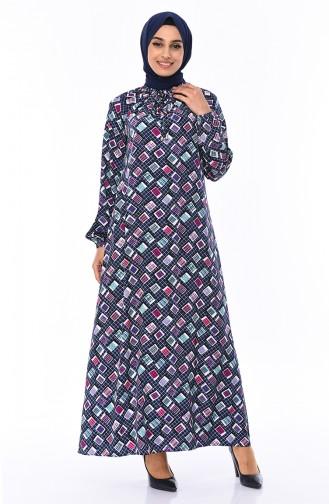Kolu Lastikli Yazlık Elbise 8373-03 Lacivert