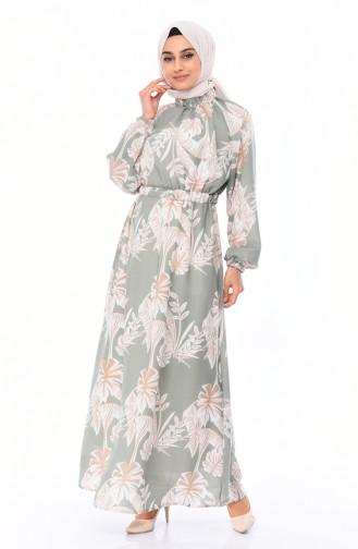 Robe a Motifs Taille Froncée 1046E-01 Vert 1046E-01