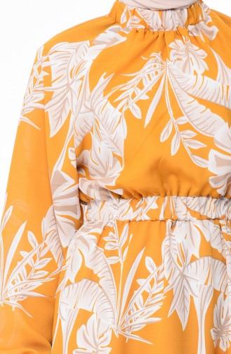 Robe a Motifs Taille Froncée 1046E-03 Moutarde 1046E-03