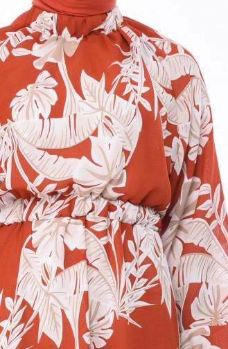 فستان قرميدي 1046E-04