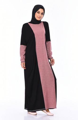 Garnili Elbise 1219-01 Siyah Kırmızı