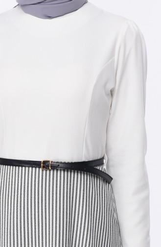 Striped Crepe Dress 8139-04 White 8139-04